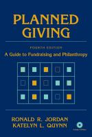 Planned Giving a guide to fundraising and philanthropy book cover
